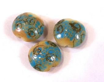 FREE SHIPPING - 3 pcs Handmade Lampwork Beads (#1917-3)