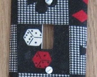 Black Vegas Fabric Covered Switchplate Cover