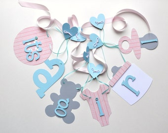 Pink and blue baby shower decorations it's a girl banner by ParkersPrints on Etsy