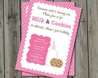 Milk & Cookies Birthday Party Invite - Milk and Cookies Invitation - Milk and Cookies Digital Printable Invite in Pink and Brown