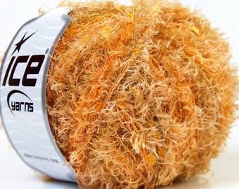 SALE EYELASH BLEND yellow orange ice yarns 50gr polyamide polyester ships from usa at usps cost 28654