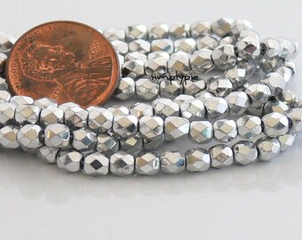 Silver, Czech Beads Fire Polished 4mm 50 Faceted Round GLass