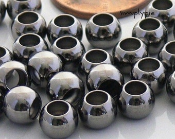 Large Hole 6mm Round Black Gunmetal Brass Beads 25