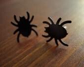 Halloween spiders earrings black dark spooky jewelry black spiders halloween jewelry