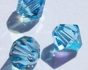 Swarovski crystal beads Bicone 5328 Swarovski elements Aquamarine AB  -- Available in 3mm, 4mm and 6mm