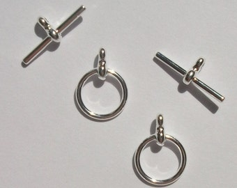 5 Toggle Clasps Silver plated over pewter 12mm smooth round.....bracelet clasp...necklace clasps.... jewelry findings (T-106)