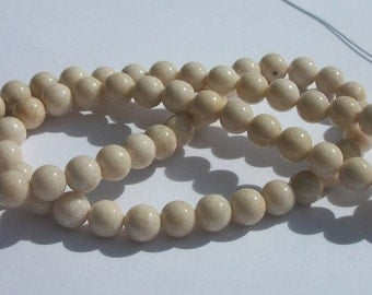 Riverstone,  Gemstone Rounds hand cut 1 strand  NATURAL -- Available in 4mm, 6mm, 8mm, 10mm and 12mm