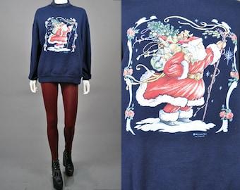 Vtg 1990's SANTA CHRISTMAS Puffy Paint Navy Blue Over sized Sweatshirt w/ Plaid Trim