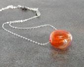 Coral Necklace, Mango Tangerine Peach Pink Artisan Hand Blown Glass Disk Sterling Silver Spring Fashion Mother's Day Gift - Peachy