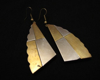 BIG Antique Tribal Inlaid Silver and Brass Black Bone Tusk Horn Fan Dangle Pierced Earrings