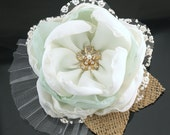 Hair Clip, Bridal, Wedding, Maid of Honor, Fascinator, Ivory, Mint, Gold, Crystals, Chiffon, Burlap, Pearls, Crystals, Lace, Vintage Style