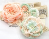 Sash, Hair Clip, Coral, Mint, Ivory, Silver, Elegant Wedding, Fascinator, Linen Sash, Burlap, Lace, Chiffon, Pearls, Crystals, Shabby Chic