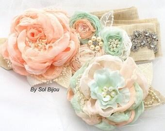 Sash, Hair Clip, Coral, Mint, Ivory, Silver, Elegant Wedding, Fascinator, Linen Sash, Burlap, Lace, Chiffon, Pearls, Crystals, Shabby Chic