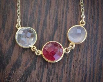 Multi-Gemstone Necklace - Red Ruby Quartz, Pink Chalcedony, Crystal Quartz - 14K Gold Fill