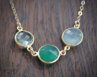 Multi Gemstone Necklace - Green Onyx, Teal Quartz, Aqua Chalcedony - 14K Gold Fill