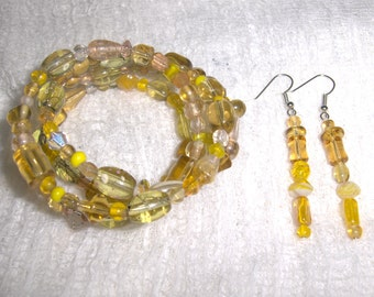 Mellow Yellow Glass and Ceramic Bead Gypsy Bracelet and Earring Set