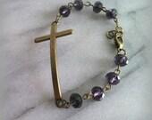 Sideways Cross Bracelet, Amethyst, Womens, Christian Jewelry, Gift for her