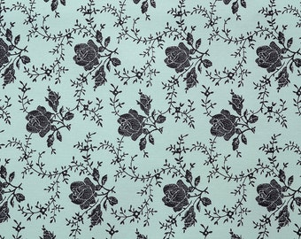 "Quilts Half Yard Cotton Fabric ""Silhouette Vintage Floral Rose"" in 2 Color ways Turquoise and Pink"