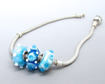 Lampwork Big Hole Bead Trio, Glass Big Hole Bead Trio, European Bracelet Bead, Turquoise Bead, FHFteam, UK, SRA