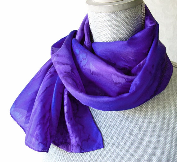 Silk Scarf Handpainted in Sapphire Blue and Amethyst Purple