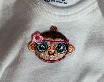 Baby Girls Clothing // Girls Monkey Onesie // Size 6-9 months