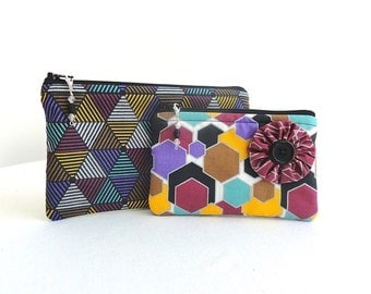 Black Geometric Zippered Pouches - Set of 2 - READY TO SHIP