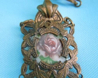 REDUCED Vintage VICTORIAN Necklace Hand Painted Porcelain Cameo Fligree Pendant & Glass Crystal Necklace Free Shipping