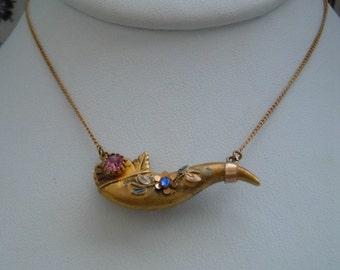 Vintage Estate Antique Victorian Era Gold FIlled Horn of Plenty Rhinestone Cornucopia Pendant Necklace FREE Shipping