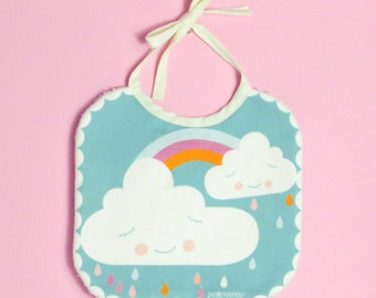 waterproof baby bib with clouds and rainbow in cotton fabric - blue & white