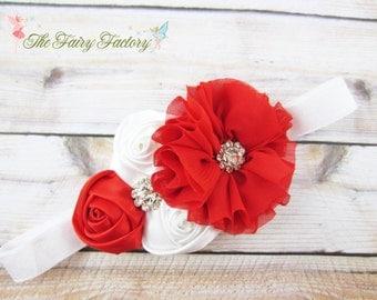 Red and White  Headband, Satin & Chiffon Flowers w/ Rhinestones Headband or Hair Clip, Flower Girl Headband, Baby Child Girls Headband