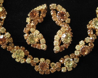 Yellow and Topaz Rhinestone Bracelet and Earring Demi