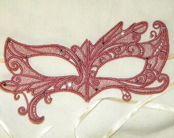 Rose Lace and Rhinestone Asymmetrical Adult Masquerade Mask