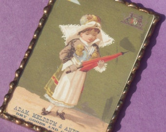 Vintage Dutch Girl Complimentary Store Card in Double Glass Frame Pre 1960