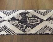 Black and Grey Flower Batik Table Runner