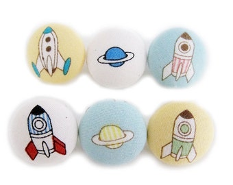 Fabric Covered Buttons - Space Travel - 6 Medium Buttons