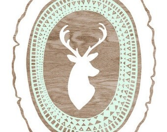 Tribal Deer Silhouette Print  -  Brown and White Woodgrain Wood Slice Art Print  - 8 x 10 Woodland Wall Art Mint Green