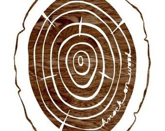 Faux Bois Print - Knock on Wood  - Dark Brown and White Woodgrain Wood Slice Art Print  - 8 x 10 WoodlandWall Art
