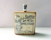 The Heart of Seattle - vintage sheet music Scrabble tile pendant