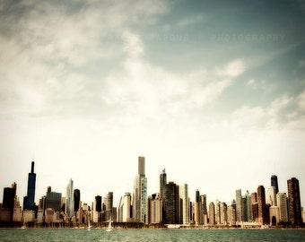 Chicago Art Print / skyline home decor / urban art / Lake Michigan / art print / wall art / Chicago photography / sky blue / clouds / water