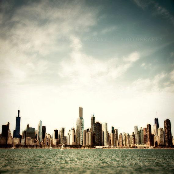 Chicago Art Print / Skyline Home Decor / Urban Art / Lake