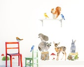 Forest Animals BIG set - 15 items Wall Decal ( removable self-adhesive fabric wall sticker )