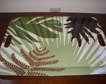 Large Melamine tray  green tropical  design