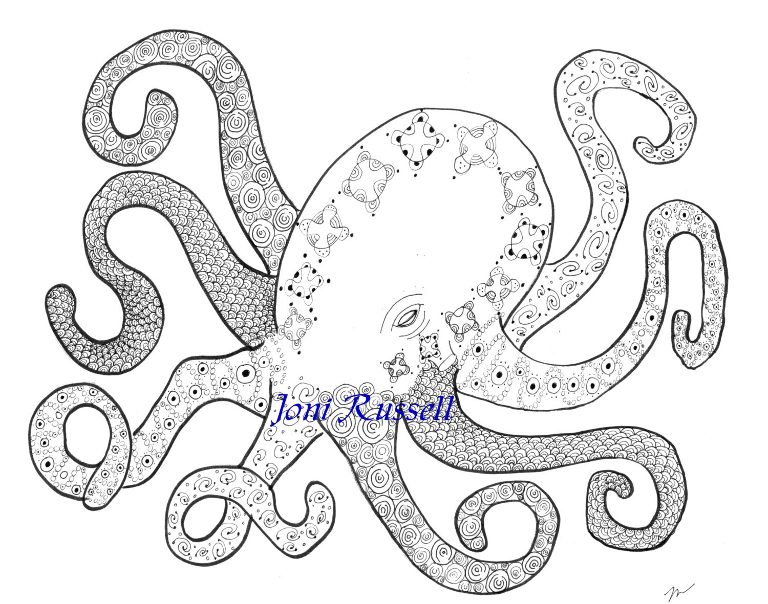 Octopus Inked Zendoodle Digital Coloring Page