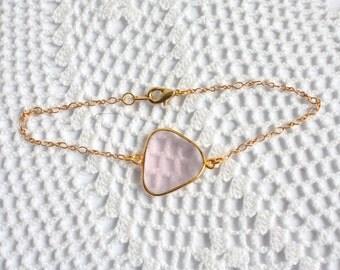 Sale OOAK Rose Quartz Bezel Set Stone Bracelet on Gold Vermeil Chain