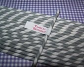 "Paper Straws in Pretty Grey/white stripe-100 Grey/white stripe paper straws ""Free Custom Phrase Straw Flag Toppers"""
