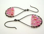 SALE - clearance - pink and black earrings - wire wrapped earrings