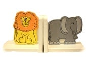 Lion and Elephant Bookends by Pookie Boutique