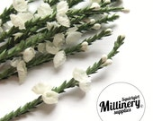 Ivory Heather Sprigs Artificial Flowers for Millinery, Corsages & Boutineers Bunch of 12