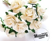 12 Ivory Miniature Paper Roses Flower Wired Picks for Millinery & Tiara Making