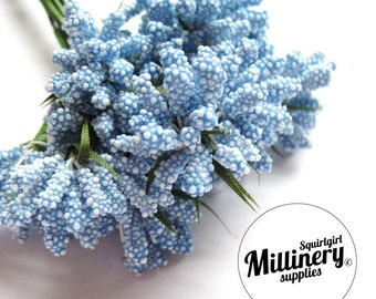 Blue Bobble Bud Flower Picks / Stamens for Millinery, Corsages & Boutineers Bunch of 12
